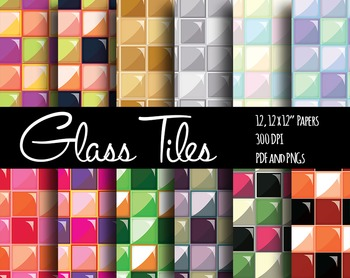 FREE! Colorful Glass Tiles Backgrounds and Digital Papers