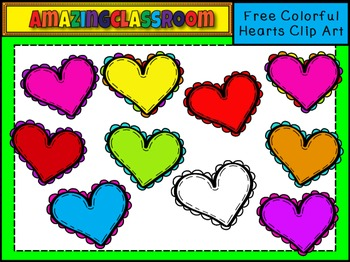 FREE Colorful Hearts Clip Art