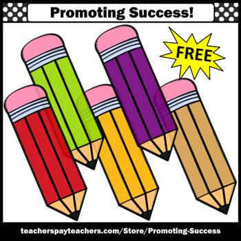 FREE Colorful Pencils Clipart, Back to School Supplies, Pencil Clip Art,  SPS