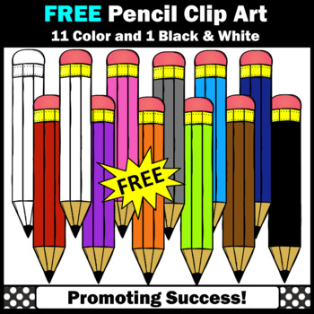FREE Colorful Pencils Clipart, Back to School Supplies, Pencil Clip Art,  SPS
