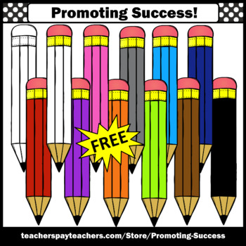 FREE Pencils Clip Art, Primary Colors SPS