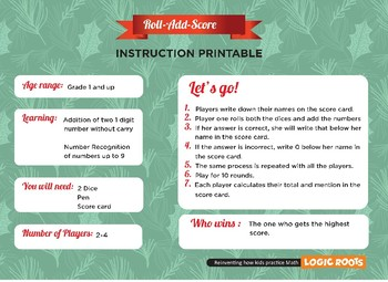 FREE Colorful Printable Christmas Addition Game: ROLL-ADD-SCORE