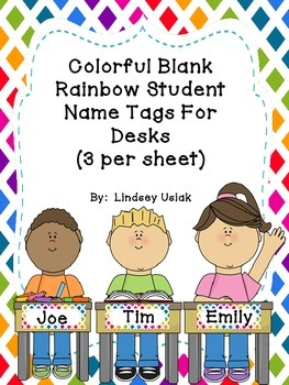 FREE Colorful Rainbow Theme Name Tags for Student Desks - Beginning of the year!