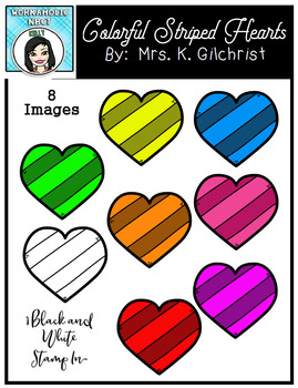 (FREE) Colorful Striped Hearts