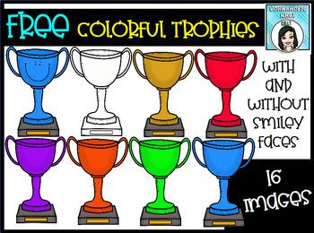 (FREE) Colorful Trophies Clip Art Set