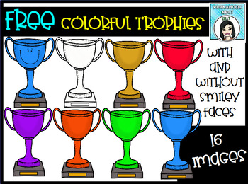 FREE Colorful Trophies Clip Art Set