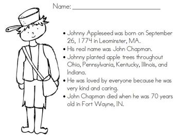 FREE Coloring Page for Johnny Appleseed by Kady Did Doodles | TpT