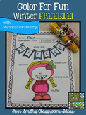 Winter Coloring Page with Differentiated Seasonal Vocabula