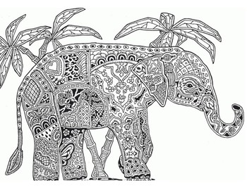 FREE Coloring Pages - Decorated Elephant