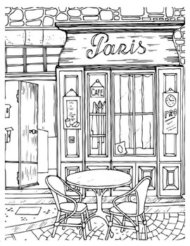 Free Coloring Sheets Paris Cafe By The Harstad