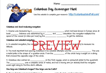 FREE Columbus Day Research Scavenger Hunt