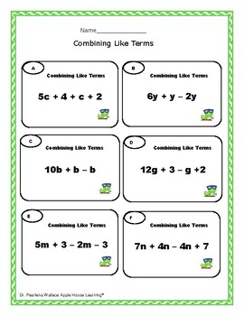 FREE: Combine Like Terms Worksheets- Algebra by Apple House Learning
