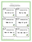 FREE: Combine Like Terms Worksheets- Algebra