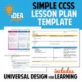 FREE Common Core CCSS Lesson Plan Template w/ Universal De