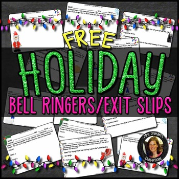 FREE Common Core Holiday Bell Ringer/Exit Slips