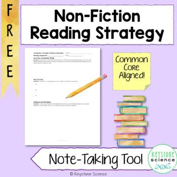 FREE Common Core Non-Fiction Reading Strategy