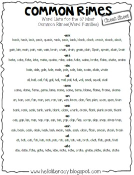 FREE Common Rimes, aka Word Families, Cheat Sheet