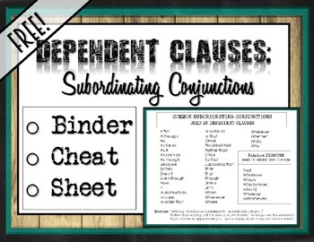 FREE! Subordinating Conjunctions