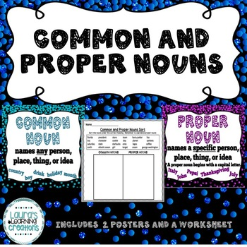 FREE Common and Proper Nouns {Posters and Worksheet}