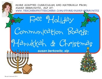 FREE Communication Boards for Hanukkah and Christmas for A