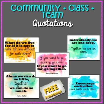 FREE - Community / Classroom / Team Building Quotations