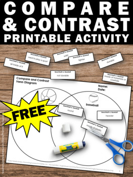 FREE Compare and Contrast Graphic Organizer, Venn Diagram Writing Worksheets