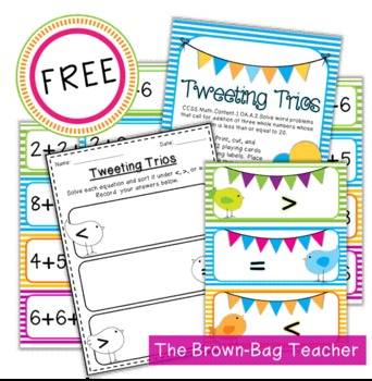 {FREE} Comparing Expressions with Three Addends: Tweeting Trios