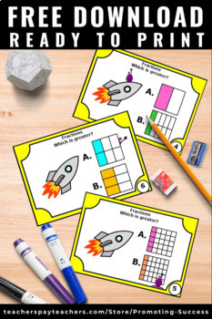 FREE Comparing Fractions with Visuals Task Cards 2nd 3rd ...