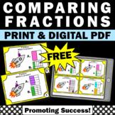 FREE Comparing Fractions Task Cards Indoor Scavenger Hunt Distance Learning