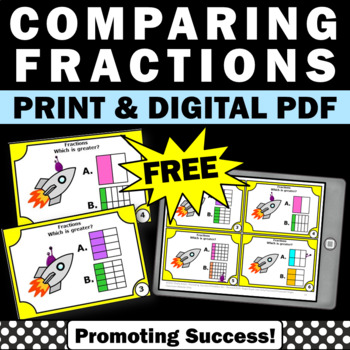 free comparing fractions task cards games activities 3rd grade