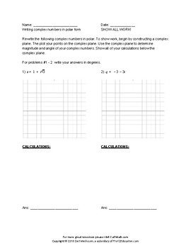 FREE Complex Numbers Worksheets (2) - HSN.CN.B.4