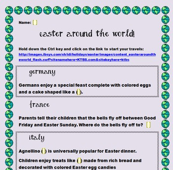 FREE! Computer Class - Easter Around the World Webquest