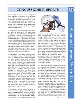 Science Literacy Reading Article and Sub Plan - Concussions in Sports {Free}