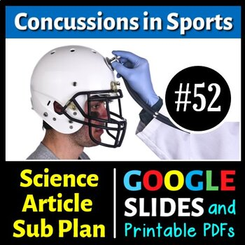Science Literacy Reading Article and Sub Plan - Concussion