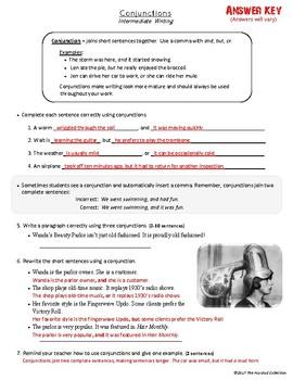 FREE - Conjunctions Worksheet - from Bundle Royale 52 Downloads (Grades 3-7)