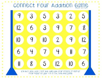 FREE Connect Four Addition Game (2 boards)