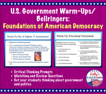Constitution and Federalism Unit Warm-Ups/Bellringers- FREE!!