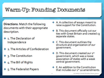 Foundations of American Democracy Warm-Ups/Bellringers- FREE!!