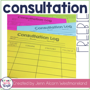 FREE Consultation Log for Speech Therapy