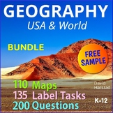 """FREE - Continents and Oceans: """"World Map Outline & Continent Map"""" (K-6)"""
