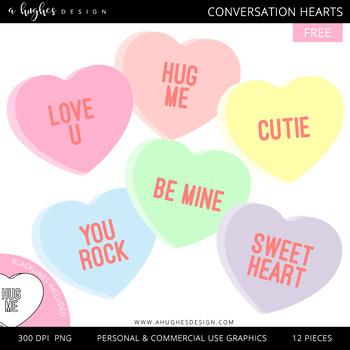 FREE Conversation Hearts Clipart  {A Hughes Design}