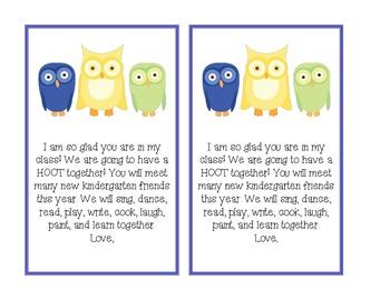 FREE Owl Welcome to Kindergarten Note