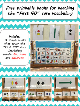 "FREE Core Vocabulary ""First 40"" Books"