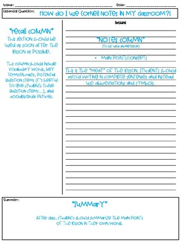 FREE Cornell Notes Template