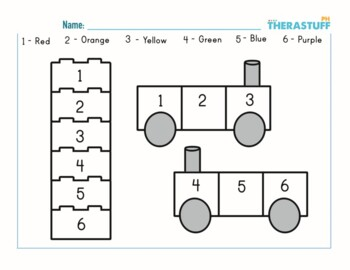 Free Color By Number Easy 1 5 Lego Blocks And Train Occupational Therapy