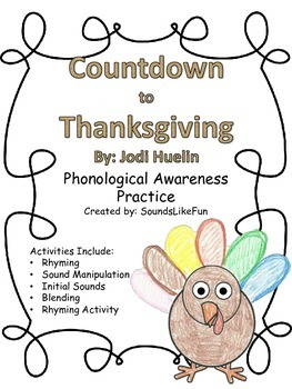 Language and Literacy Mini Lesson FREE: Countdown to Thanksgiving