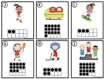 FREE Counting Cards Ten Frames, Tally Marks & Base Ten Blocks Winter Sports