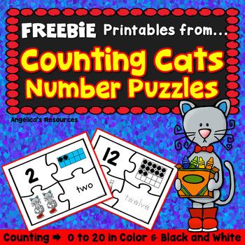 FREEBIE Number Sense : Cats Number Puzzle