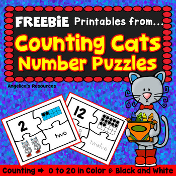 Back to School Activities : Number Sense Counting Cats Puzzles FREEBIE