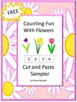 FREE Counting Fun With Flowers Cut and Paste Worksheets Sampler